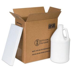 "12 x 6 x 12 3/4"" 2 - 1 Gallon Plastic Jug Shipper Kit"