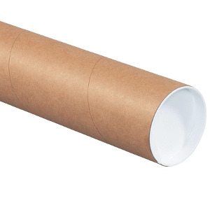 "3"" x 60"" Heavy-Duty Kraft Tubes with Caps 24/Carton"