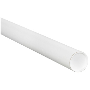 """1.5"""" x 15"""" White Mailing Tubes with Caps 50/Carton"""