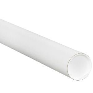 """2.5"""" x 26"""" White Mailing Tubes with Caps 34/Carton"""