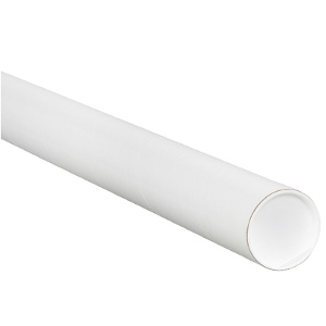 """2"""" x 9"""" White Mailing Tubes with Caps 50/Carton"""