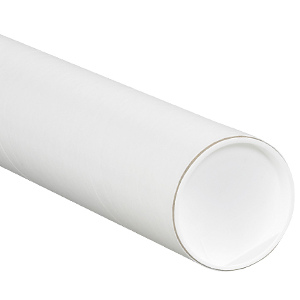 """4"""" x 48"""" White Mailing Tubes with Caps 15/Carton"""