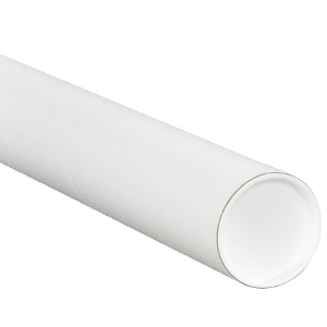 """3"""" x 15"""" White Mailing Tubes with Caps 24/Carton"""