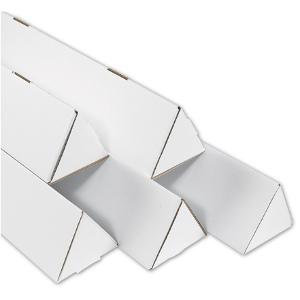 """3 x 18 1/4"""" White Triangle Mailing Tubes 50/Bundle"""