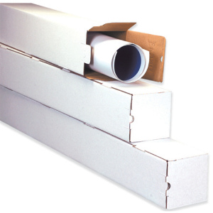 "5 x 5 x 12"" White Square Mailing Tubes 25/Bundle"