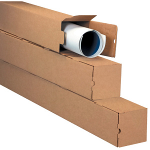 "3 x 3 x 37"" Kraft Square Mailing Tubes 25/Bundle"