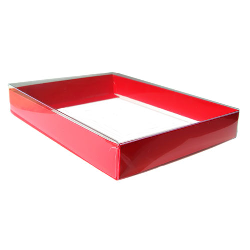 """A8 Clear Lid Boxes with Red Base (8 5/8 x 5 5/8 x 1 3/8"""") 50/Ctn"""