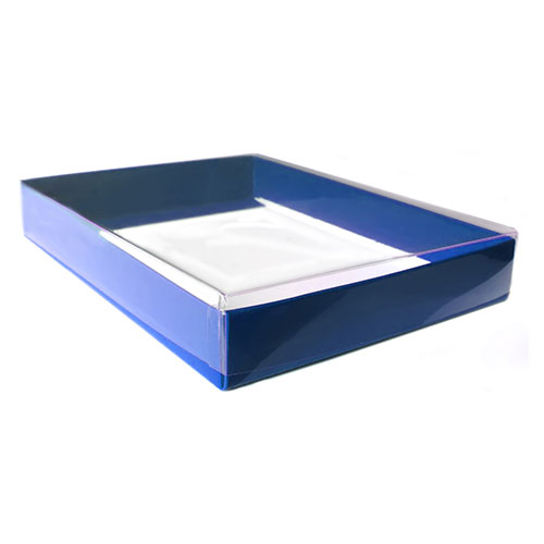 """8 5/8 X 5 5/8 X 1"""" - Clear Lid Boxes with Blue Base, A8 50/Ctn"""