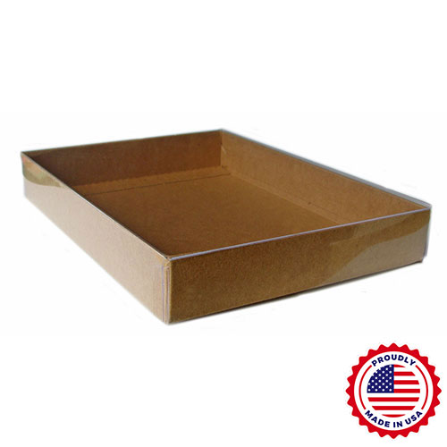 "5 1/4"" x 3 3/4"" x 1"" - Clear Lid Boxes with Natural Kraft Base, 4 Bar/A1 100/Ctn"