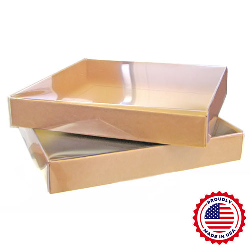 "Clear Lid Square Boxes with Natural Kraft Base (6 1/4 x 6 1/4 x 1"") 100/Ctn"