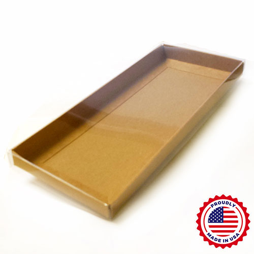 "Clear Lid #10 Envelope Boxes with Natural Kraft Base (9 5/8 x 4 1/4 x 3/4"") 100/Ctn"