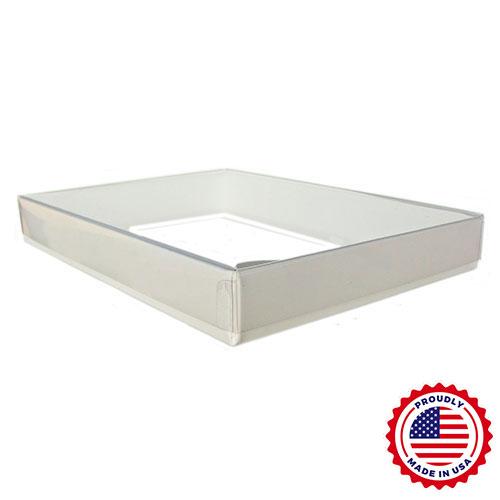 7 3/8 x 5 3/8 x 1 Clear Lid Boxes w/ White Base, A7/Lee 100/Ctn