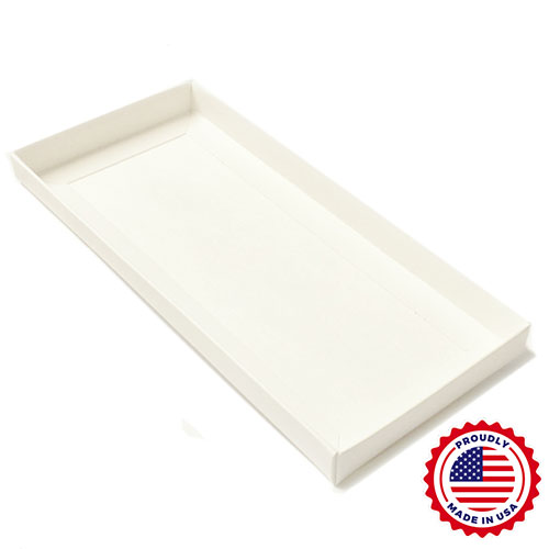 """9 5/8 x 4 1/4 x 3/4"""" - Clear Lid #10 Envelope Boxes with White Base 100/Ctn"""