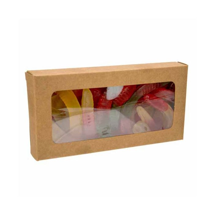 """2 3/4"""" x 13/16"""" x 5 7/16"""" Kraft Paper Window Box with Attached PET Sheet (25 Pieces)"""