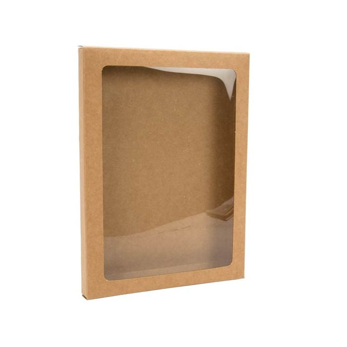 """5 3/8"""" x 5/8"""" x 7 3/8"""" Kraft Paper Window Box with Attached PET Sheet, A7 (25 Pieces)"""