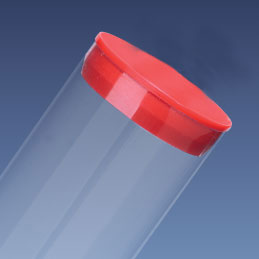 """1 1/4"""" Red Packaging Tube Cap for 1.363"""" Clear Tube"""