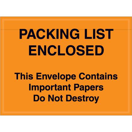 "4 1/2"" x 6"" Orange ""Important Papers"" Packing List Envelopes 1000/Case"