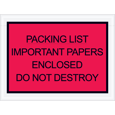 """4 1/2"""" x 6"""" Red """"Important Papers"""" Packing List Envelopes 1000/Case"""