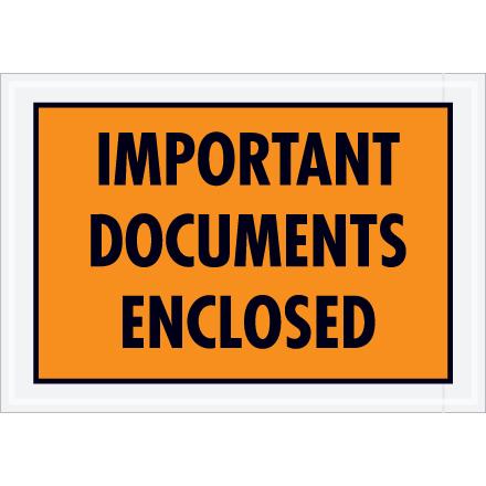 "5 1/4"" x 7 1/2"" Orange ""Important Papers"" Packing List Envelopes 1000/Case"