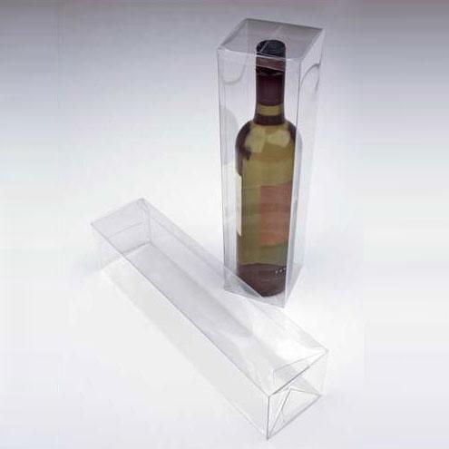 "3 3/8"" x 3 3/8"" x 12 5/8"" Clear Wine Box with a Pop & Lock Bottom (25 Pieces)"