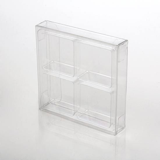 """2 3/4"""" x 13/16"""" x 2 11/16"""" Crystal Clear Artisan Candy Box Sets for 4 (25 Pieces)"""