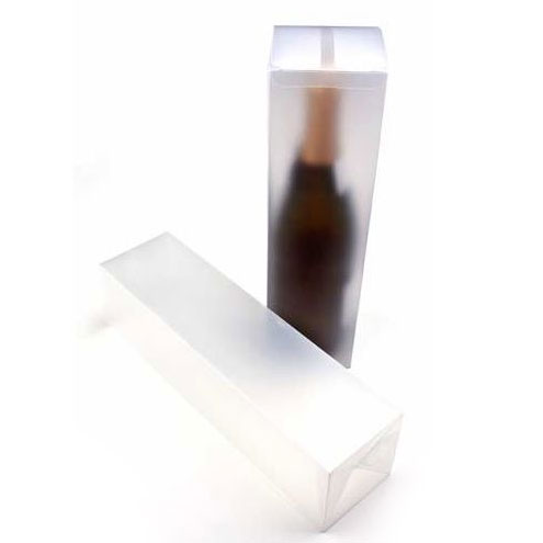 """3 3/8"""" x 3 3/8"""" x 12 5/8"""" Frosted Wine Box with a Pop & Lock Bottom (25 Pieces)"""