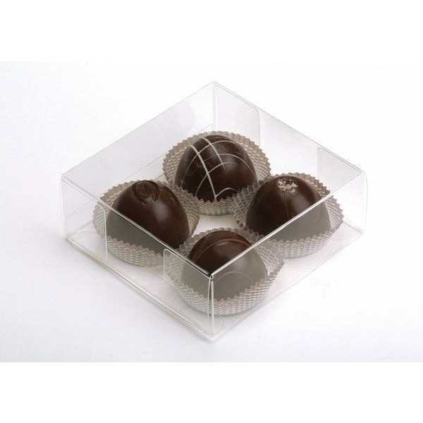 "4 1/4"" x 1 5/8"" x 4 1/4"" Crystal Clear Truffle Box (25 Pieces)"