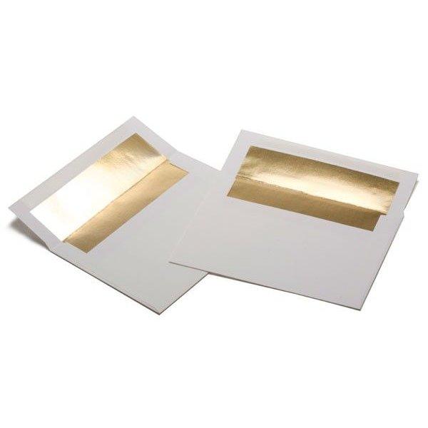 "A7 7 1/4"" x 5 1/4"" White Envelope Gold Foil Lined (50 Pieces)"