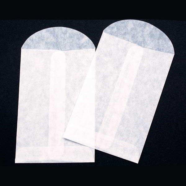 "3"" x 4 1/2"" Glassine Open End Center Seam Envelope (100 Pieces)"