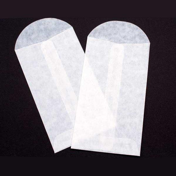 "3 1/8"" x 5 1/2"" Glassine Open End Center Seam Envelope (100 Pieces)"