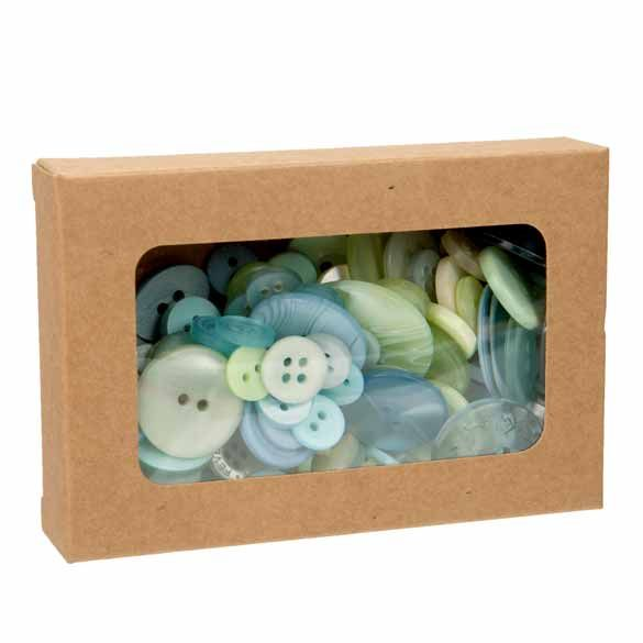 """2 3/4"""" x 13/16"""" x 4 1/16"""" Kraft Paper Window Box with Attached PET Sheet (25 Pieces)"""