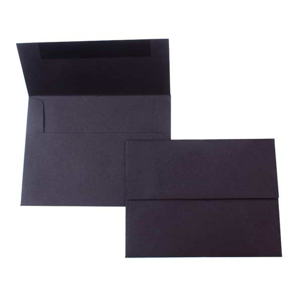 "A2 5 3/4"" x 4 3/8"" Premium Opaque Envelope, Black (50 Pieces)"