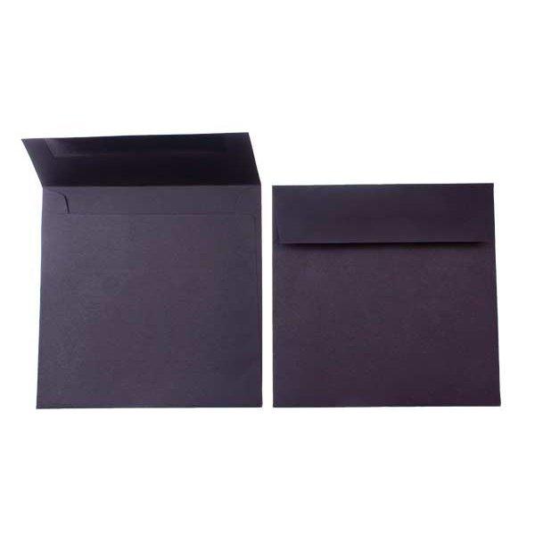 """6 1/2"""" x 6 1/2"""" Premium Opaque Envelope, Black (50 Pieces)"""