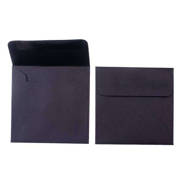 """5"""" x 5"""" Premium Opaque Envelopes, Black (50 Pieces)"""