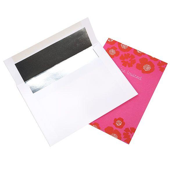 "A7 7 1/4"" x 5 1/4"" White Envelope Silver Foil Lined (50 Pieces)"